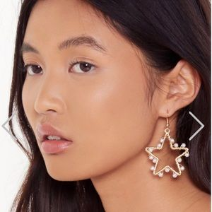 Gold Pearl Star Design Drop Earrings